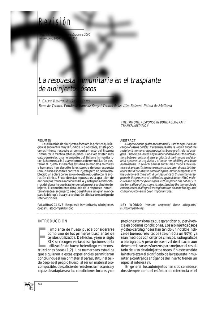 La respuesta inmunitaria en el trasplante de aloinjertos óseos