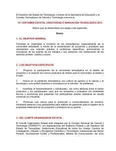 Convocatoria 15° CERTAMEN ESTATAL CREATIVIDAD E
