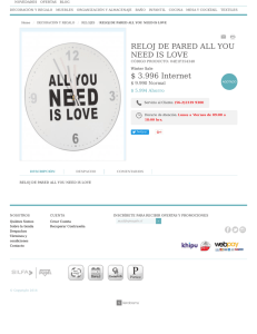 RELOJ DE PARED ALL YOU NEED IS LOVE $ 9.990 Internet