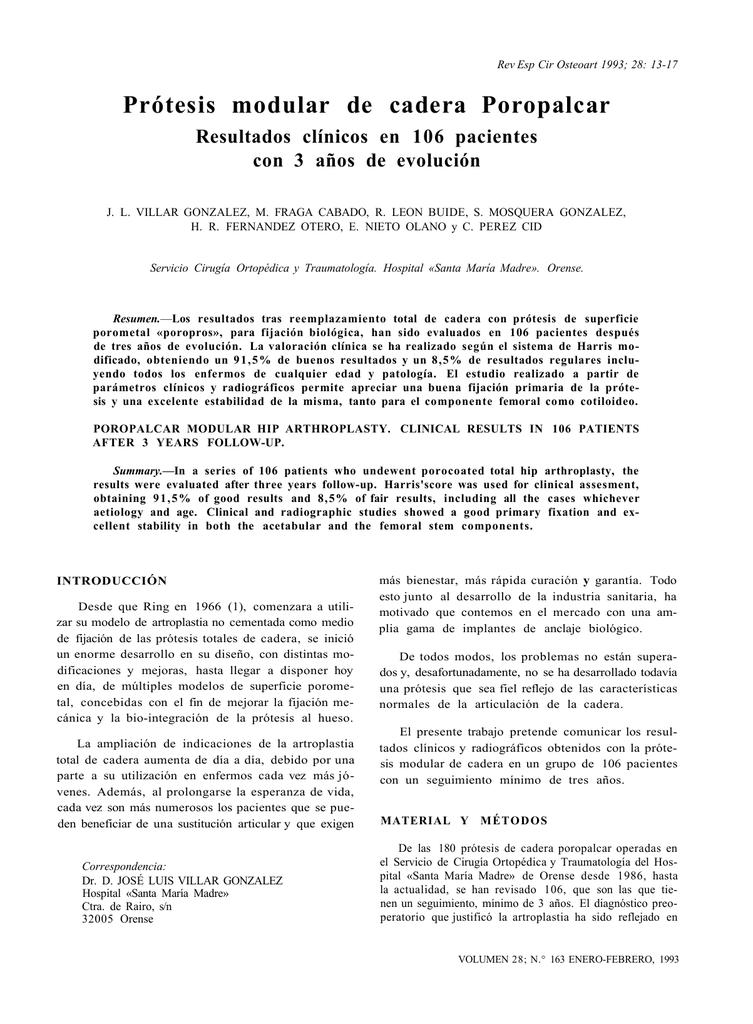 b3a54597a Rev Esp Cir Osteoart 1993  28  13-17 Prótesis modular de cadera Poropalcar  Resultados clínicos en 106 pacientes con 3 años de evolución J. L. VILLAR  ...