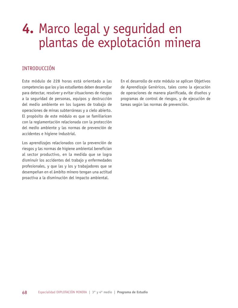 Módulo 4 - Marco legal y seguridad en plantas de explotación minera