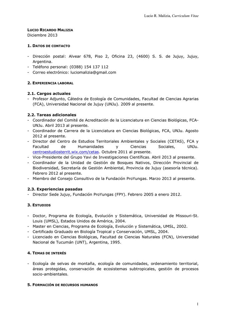 CV - Fundación ProYungas
