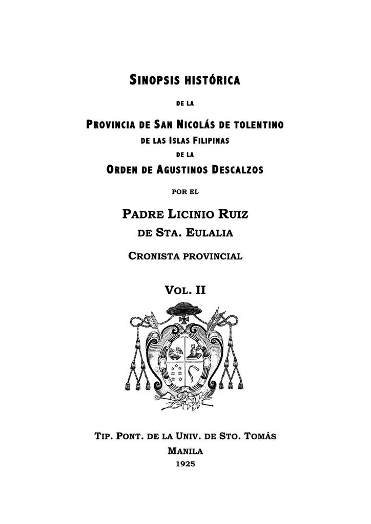 sinopsis histórica - Agustinos Recoletos