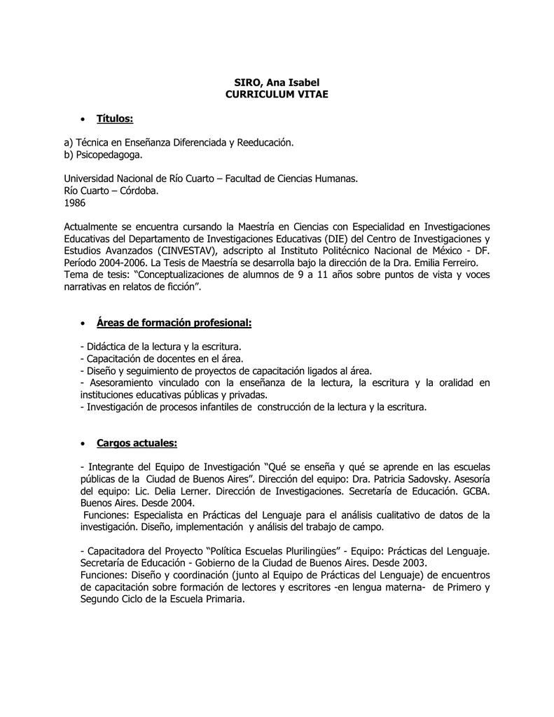 SIRO, Ana Isabel CURRICULUM VITAE • Títulos