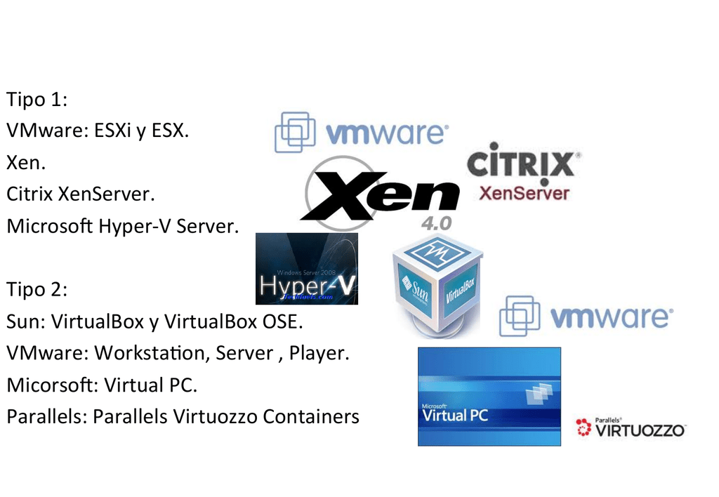 Tipo 1: VMware: ESXi y ESX  Xen  Citrix XenServer  Microsoft