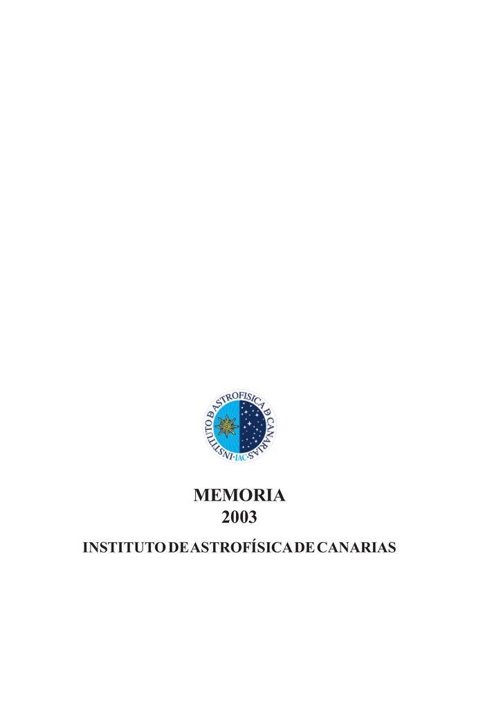 memoria 2003 - Instituto de Astrofísica de Canarias