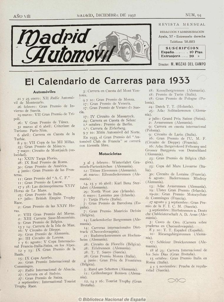 Calendario 1932 Espana.1 Hemeroteca Digital