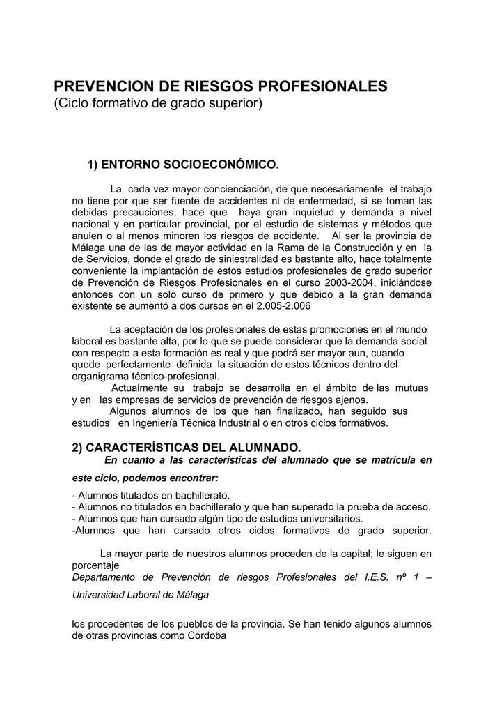 Fp Prevencion De Riesgos Profesionales