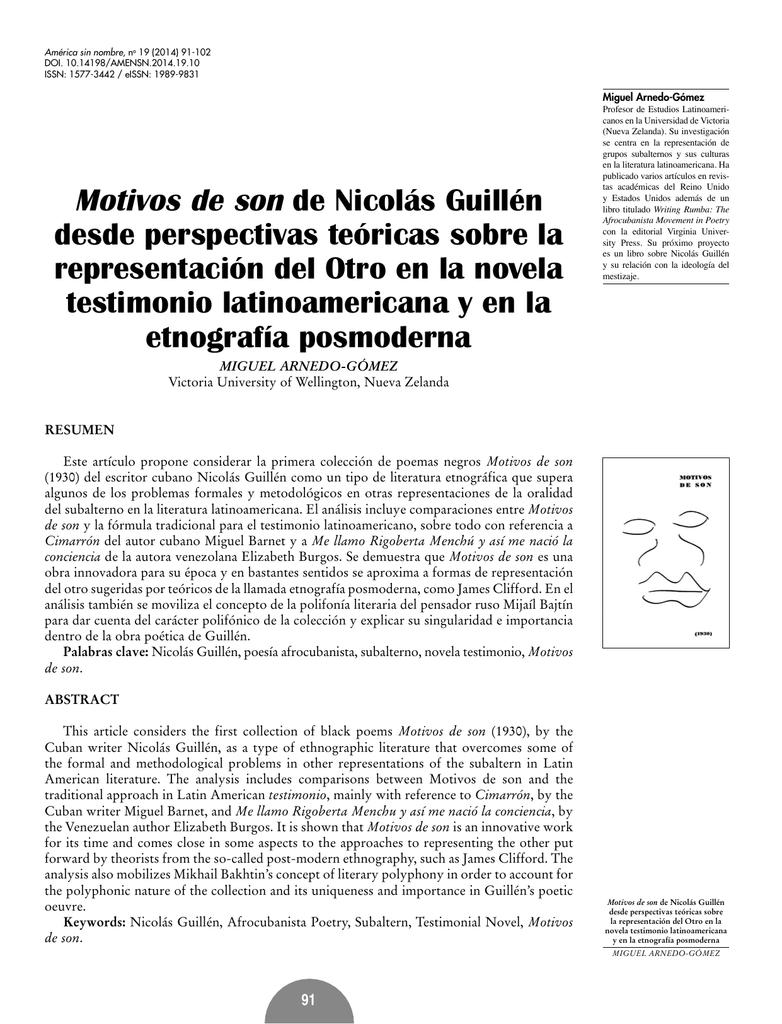 Motivos de son de Nicolás Guillén desde perspectivas