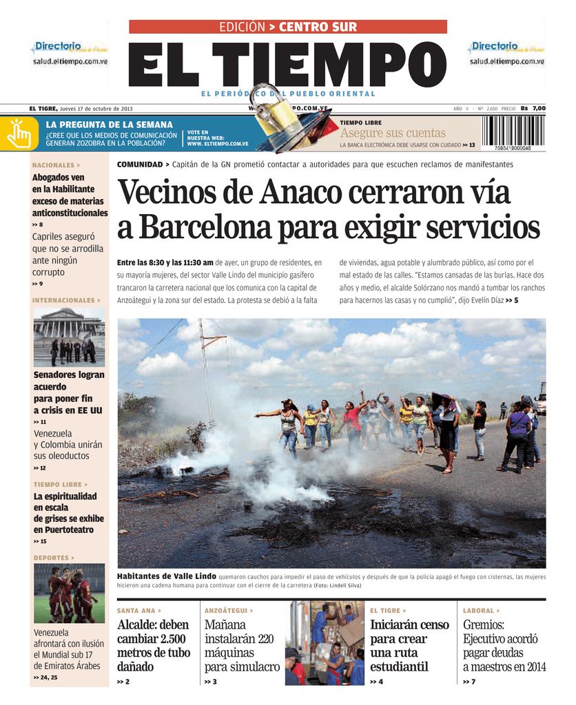 b373ee7e59f Vecinos de Anaco cerraron vía a Barcelona para exigir