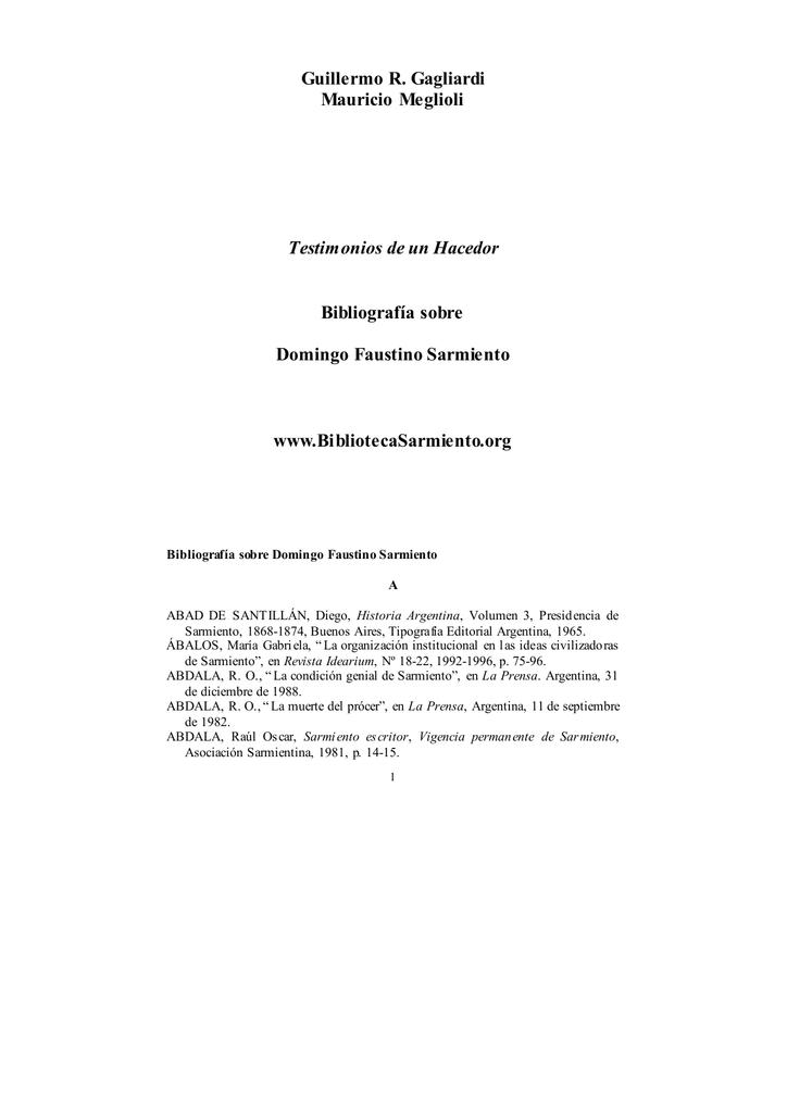 f72a83e91214a Testimonios de un Hacedor. Bibliografía sobre Domingo Faustino
