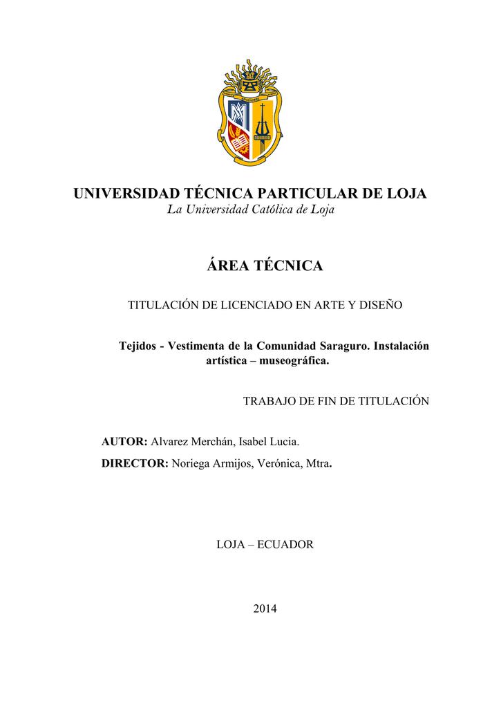 UNIVERSIDAD TÉCNICA PARTICULAR DE LOJA ÁREA TÉCNICA