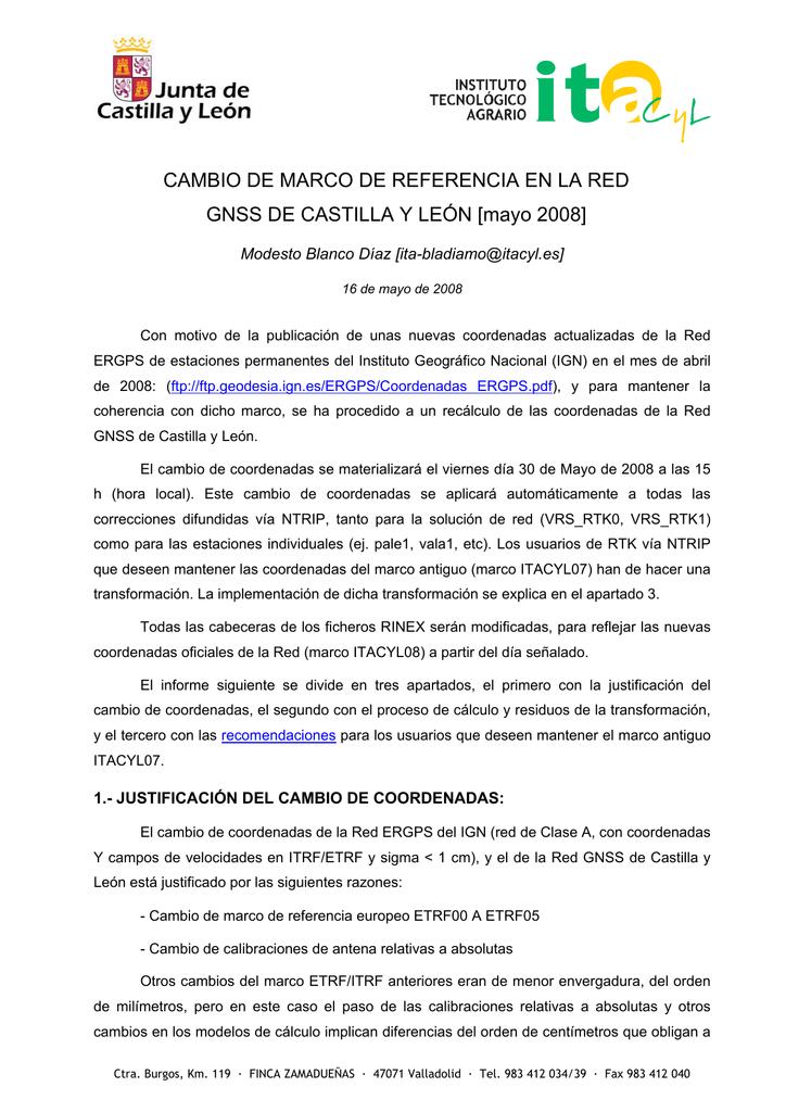 CAMBIO DE MARCO DE REFERENCIA EN LA RED GNSS DE