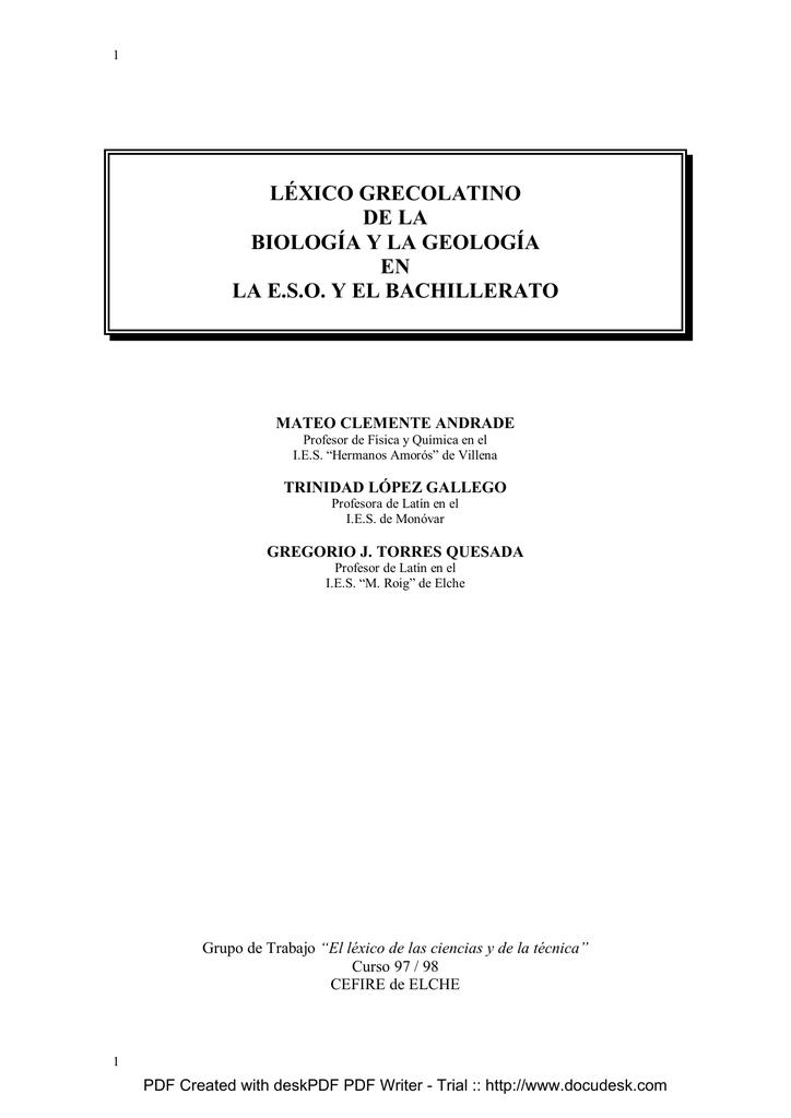 La Geología Grecolatino De Léxico Y Biología O0nwk8P