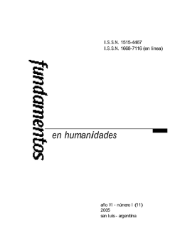 2005 : 11 - Revista Fundamentos en Humanidades