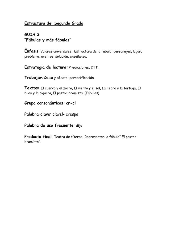 Estructura Guãa 3 Segundo Grado