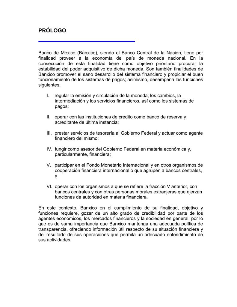 Proyecto Normas De Información Financiera Del Banco De México