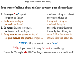 "era"" if you want to say ""was"" *de if you want to say ""about something"
