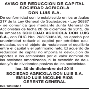 AVISO DE REDUCCION DE CAPITAL SOCIEDAD AGRICOLA DON