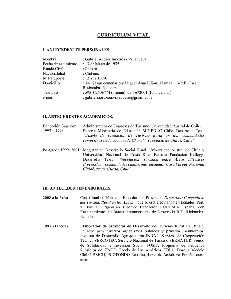 Curriculum Vitae Pontificia Universidad Catolica Del Ecuador