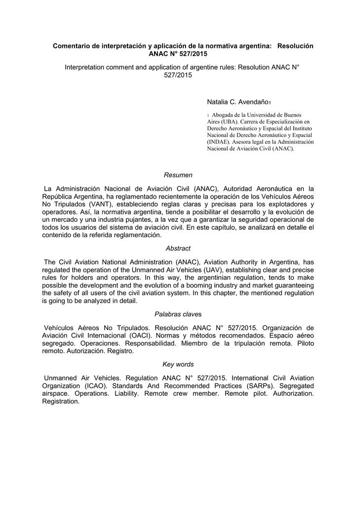 Resolución ANAC N° 527/2015 - P3-USAL