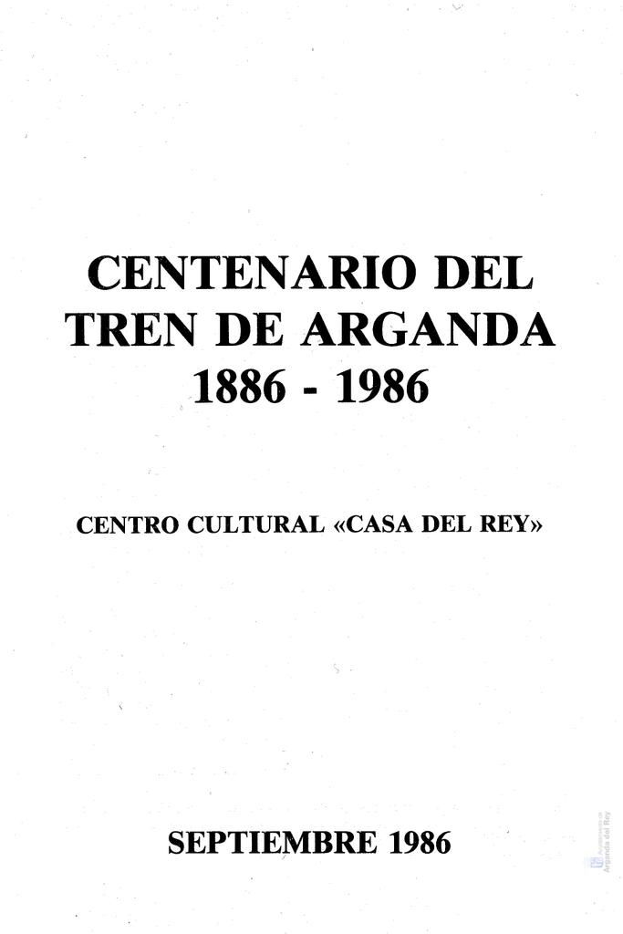 Centenario Tren 1986Madrid Arganda 1886 del de UVpzSM