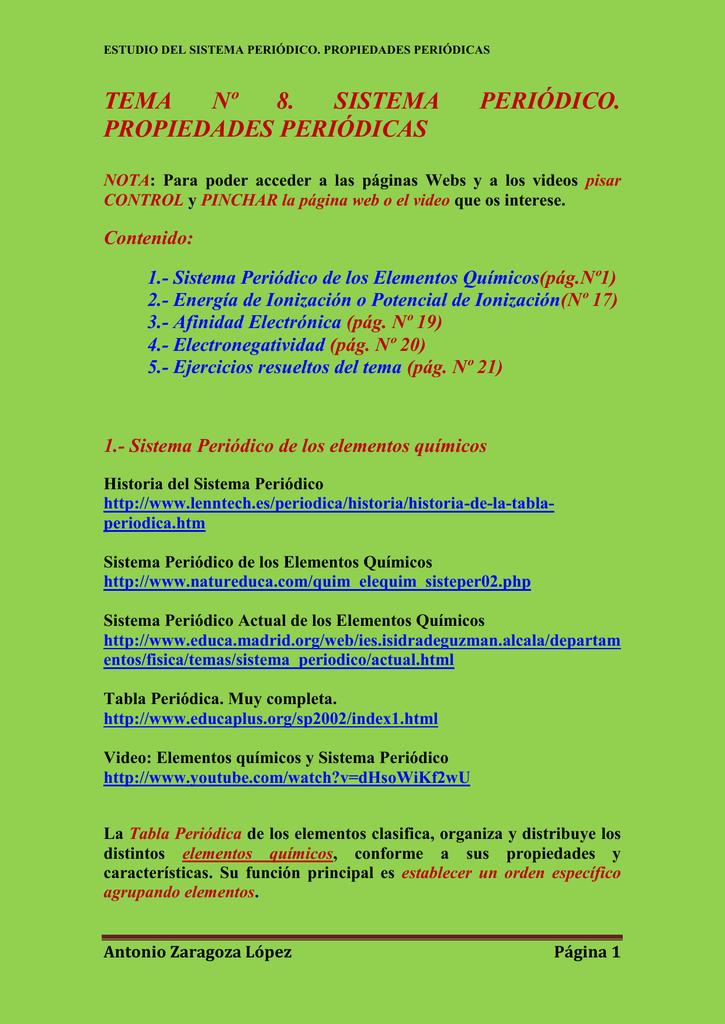Tema 8 sistema peridico propiedades peridicas urtaz Images