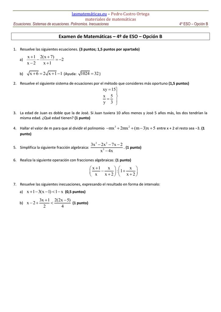 Examen de Matemáticas – 4º de ESO – Opción B