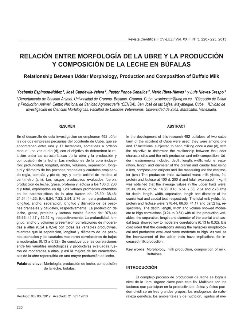 Relación entre morfología de la ubre y la producción y