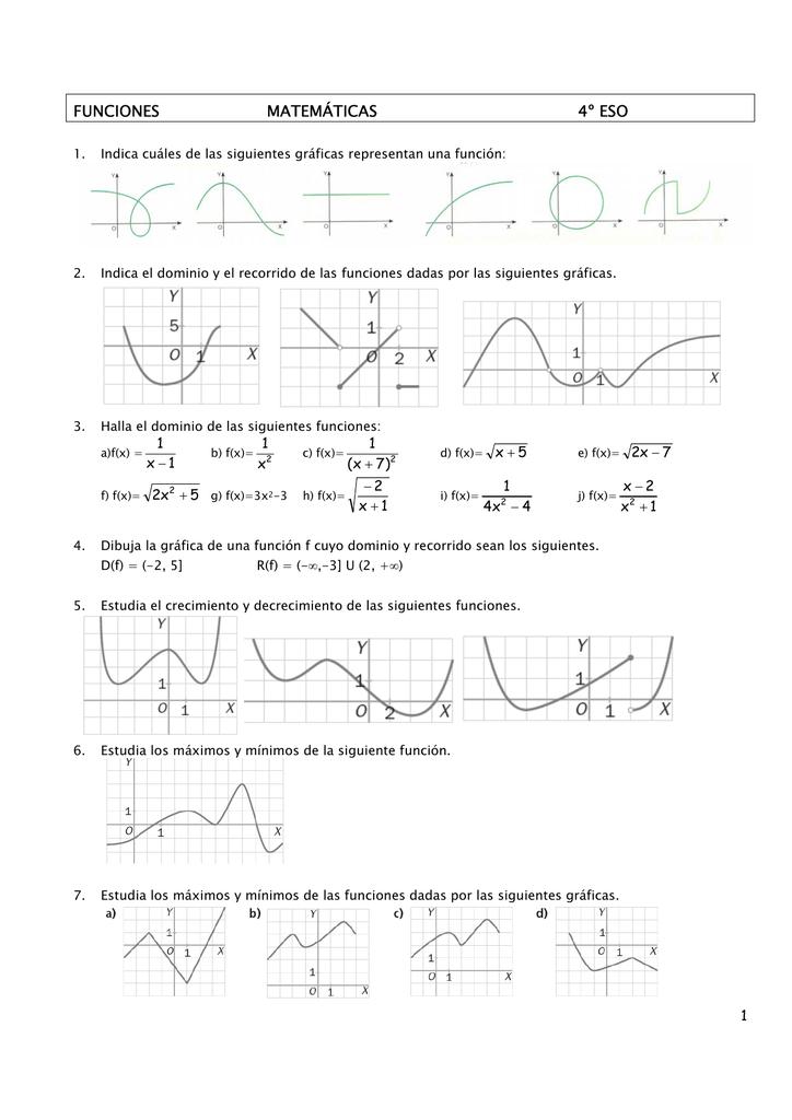 funciones matemáticas 4º eso