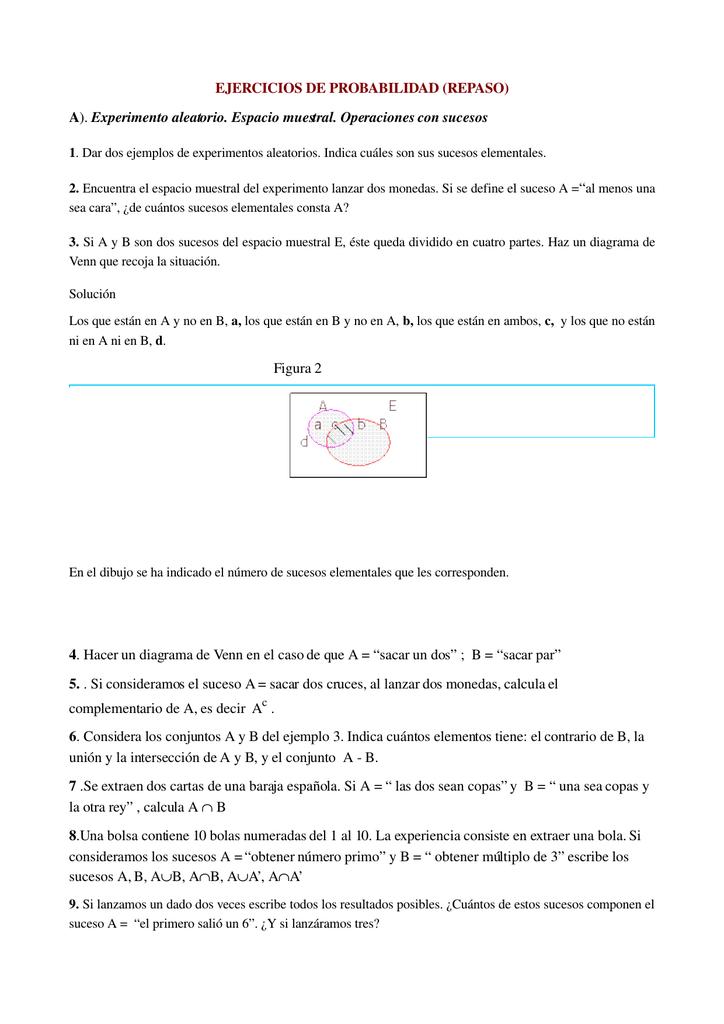 Ejercicios de probabilidad repaso a ccuart Choice Image