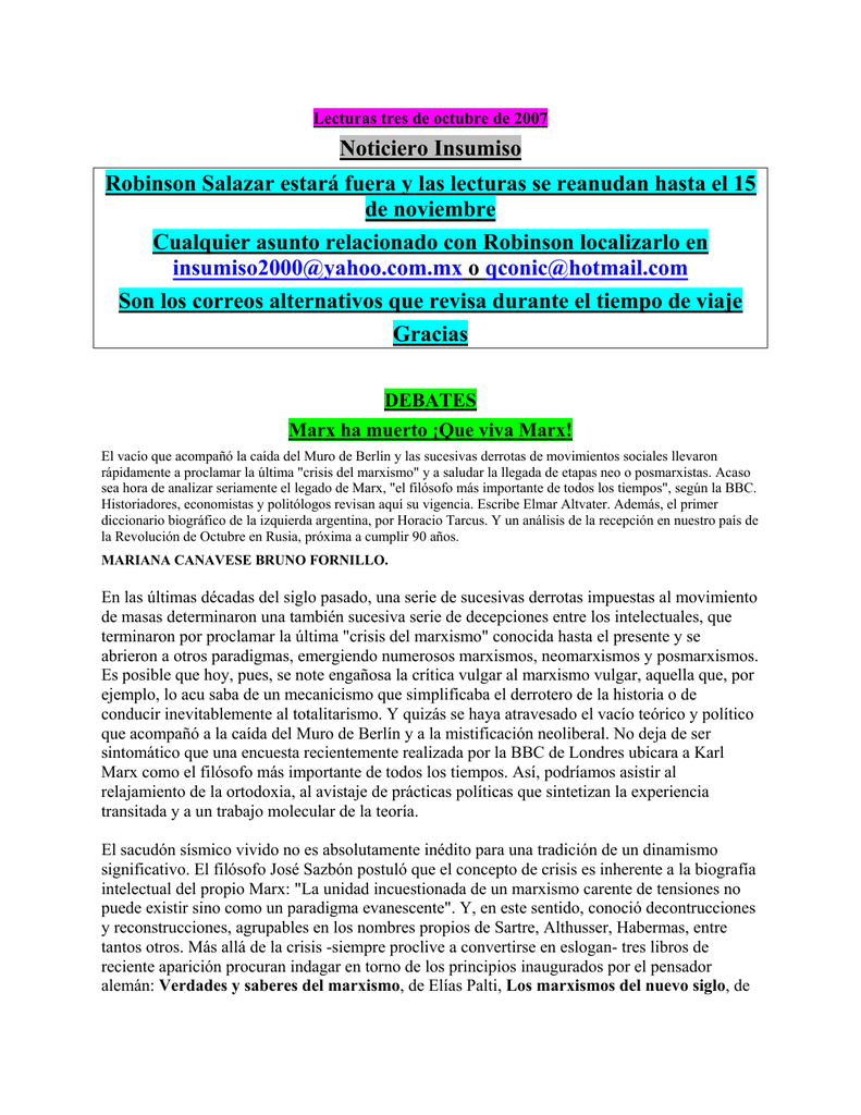Lecturas tres de octubre de 2007