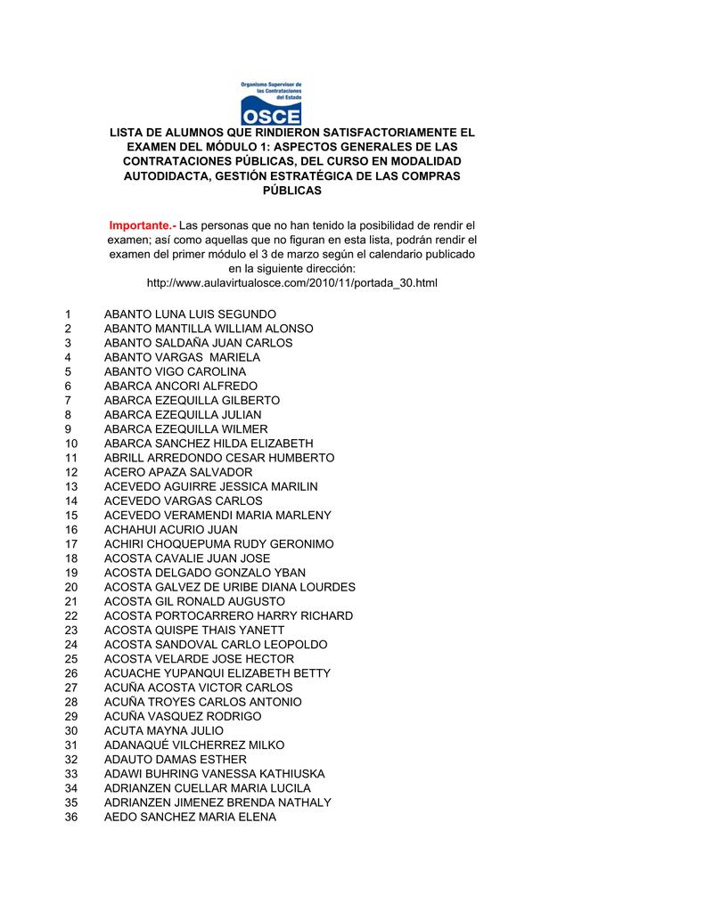 Lista de alumnos que rindieron satisfactoriamente el examen fandeluxe Choice Image