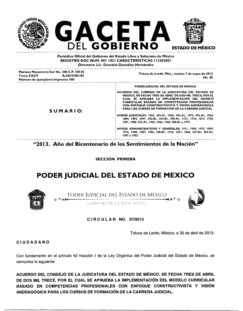 Acuerdo del Consejo de la Judicatura del Estado de México, de