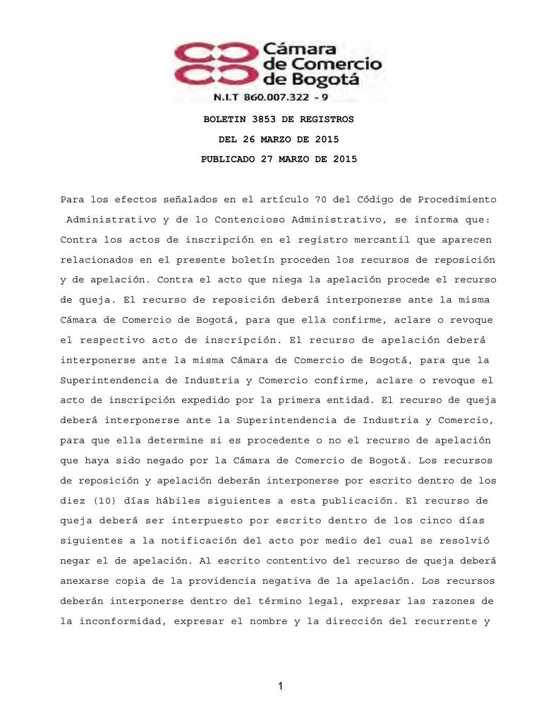 BOLETIN 3853 DE REGISTROS DEL 26 MARZO DE 2015
