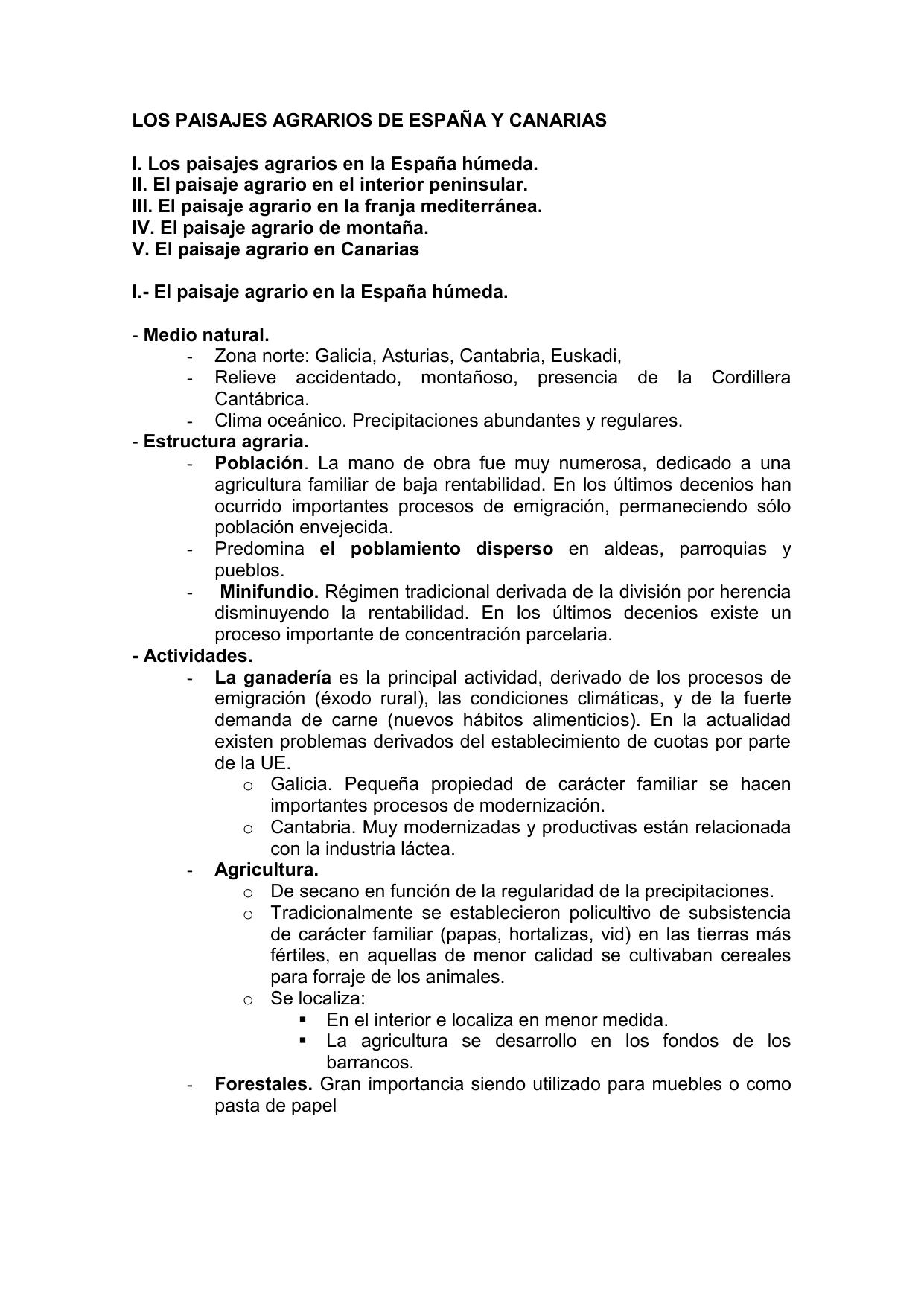 Los Paisajes Agrarios D Espana Y Canarias