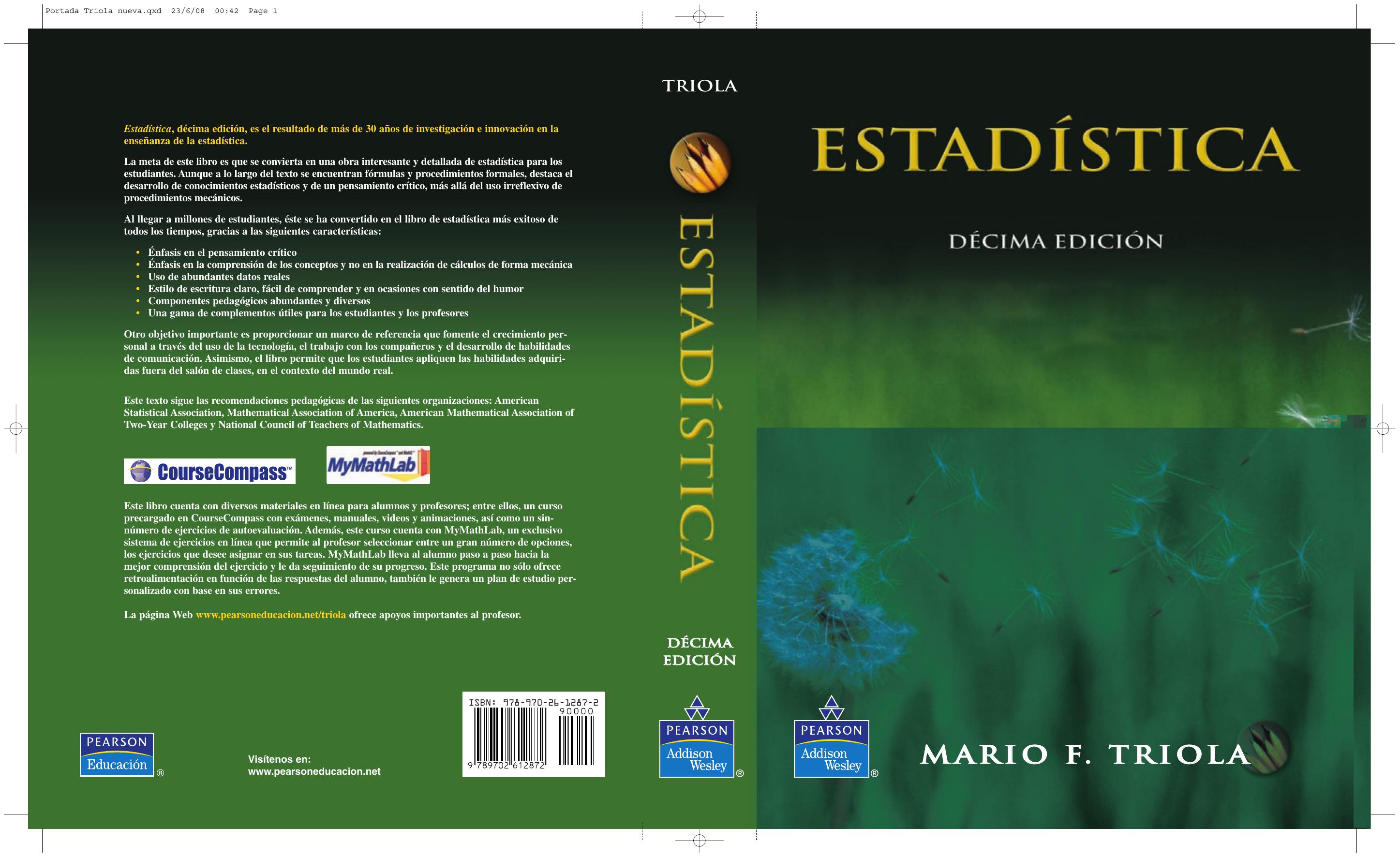 e36b357a6b Libro de Estadistica Mario F. Triola Pearson