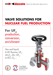 NUCLEAR FUEL PRODUCTION-Valve
