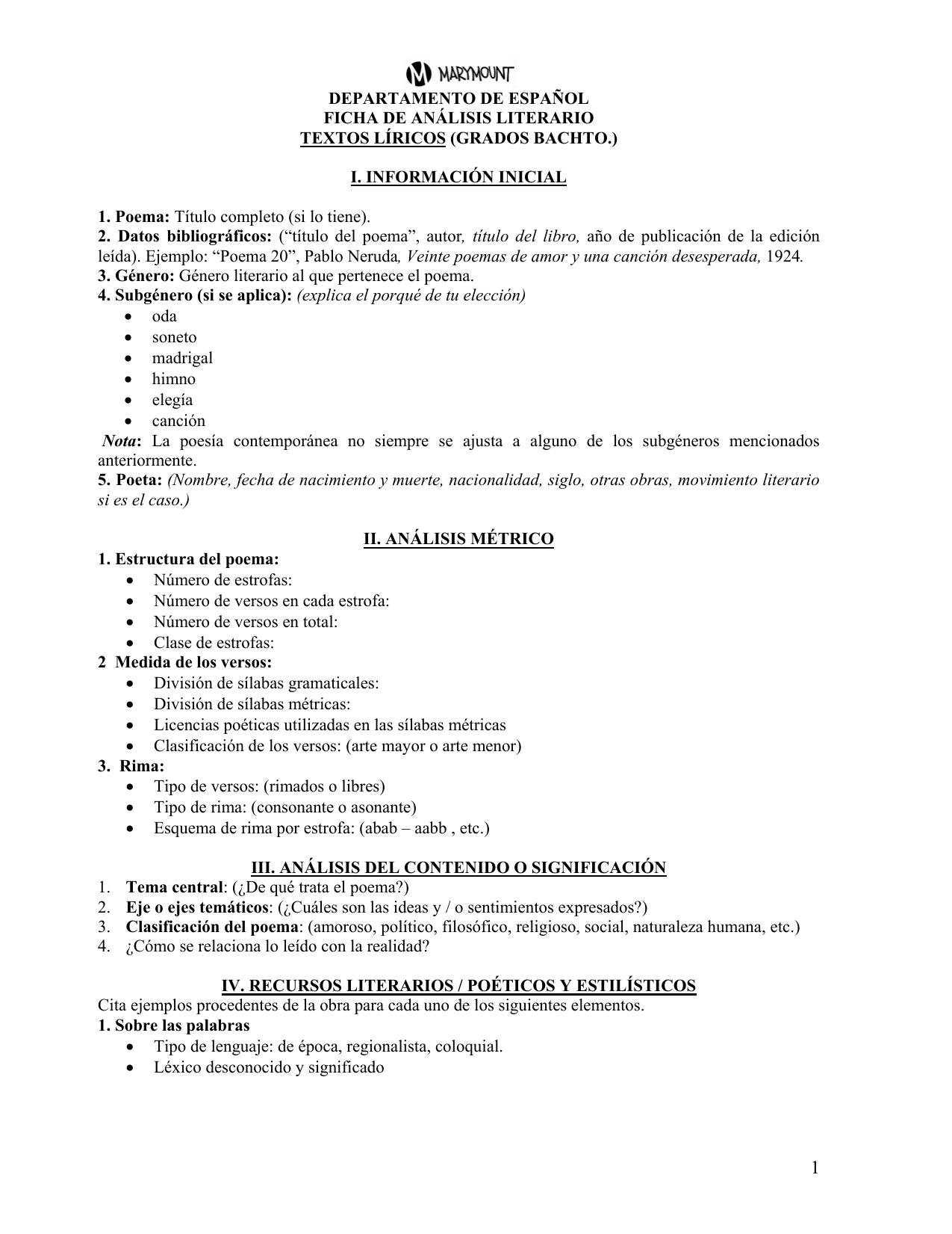 Ficha Textos Lí Ricos 4