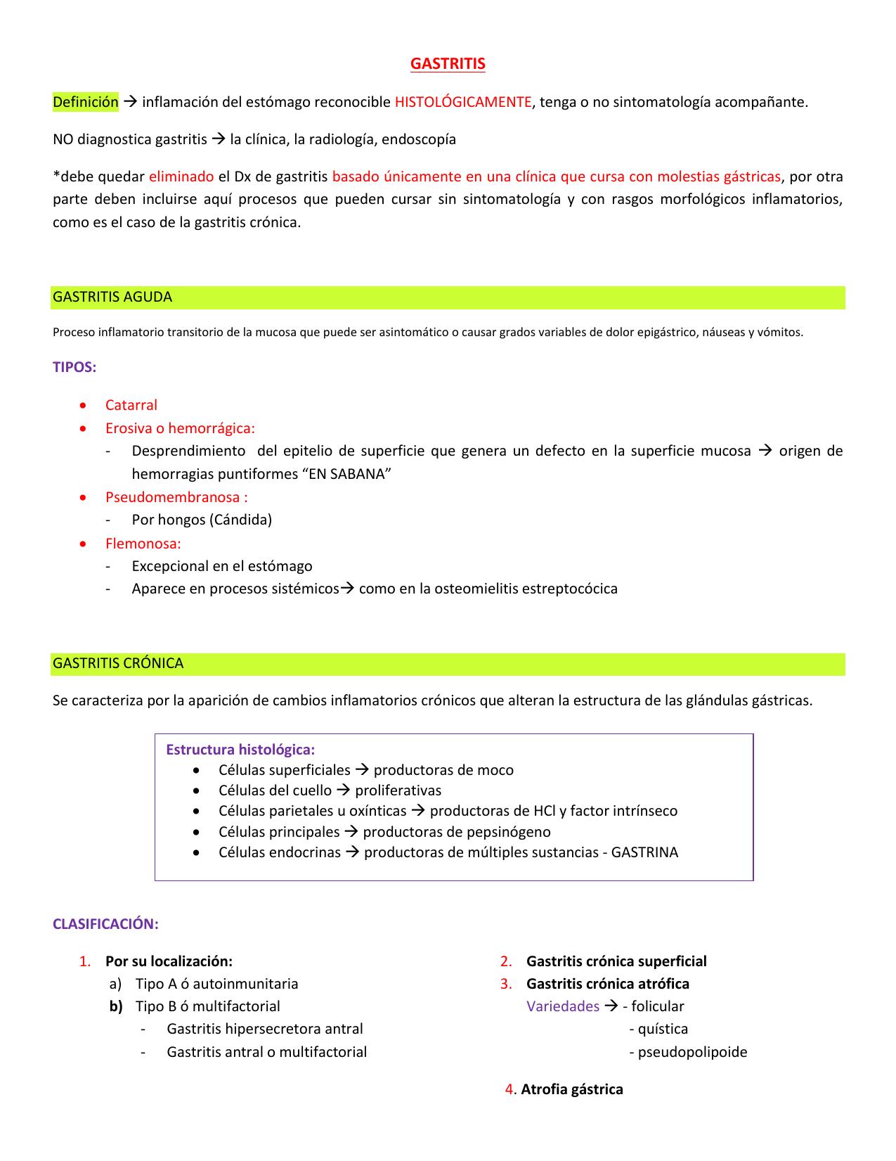 Gastritis cronica antral atrofica