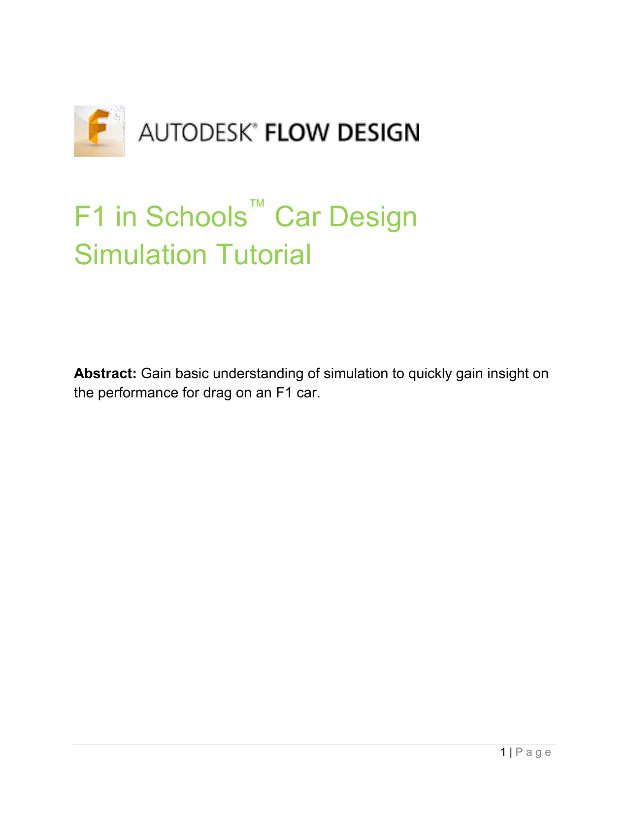F1 Tutorial FlowDesign