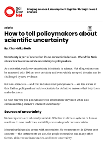 How to tell policymakers about scientific uncertainty