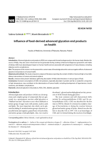 influence of food-derived advanced glycation end products on health