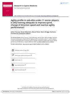 agility in sub elite -under 11 soccer players saq