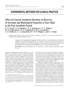 Effect of General Anesthesia Duration on Recovery of Secretion and Biochemical Properties of Tear Fluid in the Post-Anesthetic Period