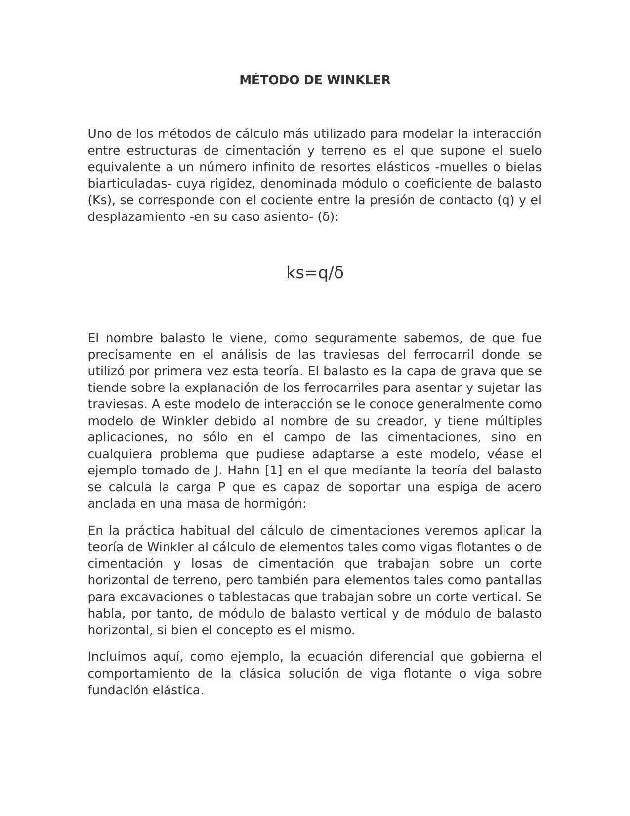 Metodo De Balasto De Winkler