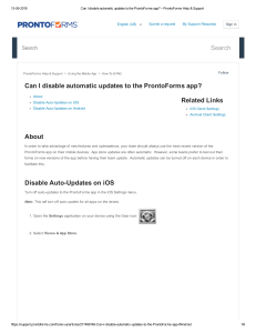 Can I disable automatic updates to the ProntoForms app  – ProntoForms Help & Support