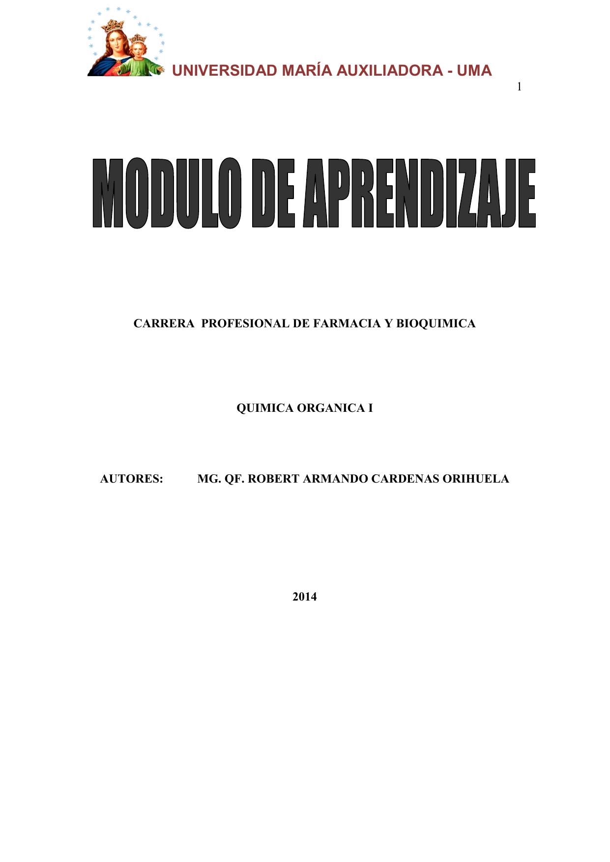 Modulo Química Orgánica I Uma 2014 03 De Marzo 1
