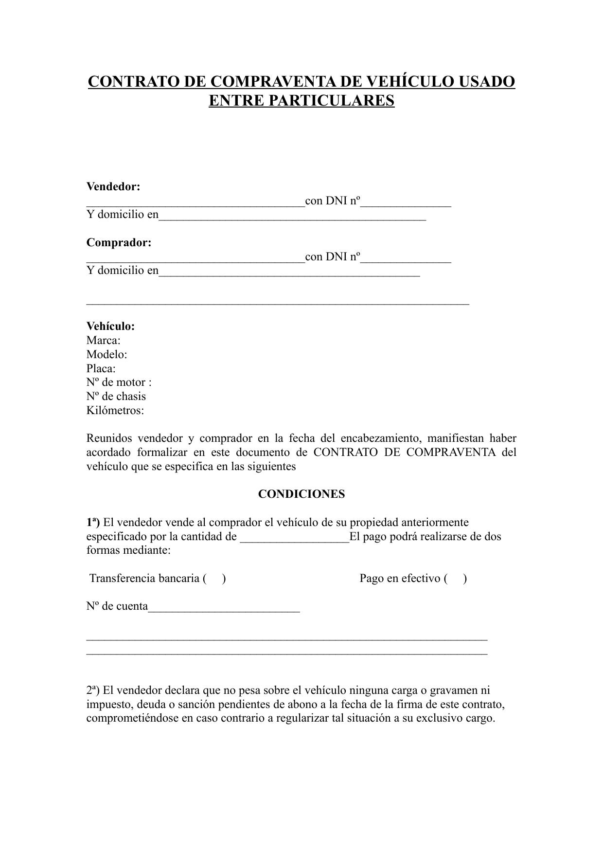 365131546 Contrato De Compraventa De Vehiculo Usado Entre Particulares Doc