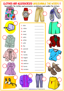clothes and accessories vocabulary esl unscramble the words worksheets for kids (1)